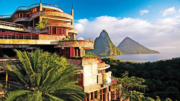 Hotel exterior and the Pitons